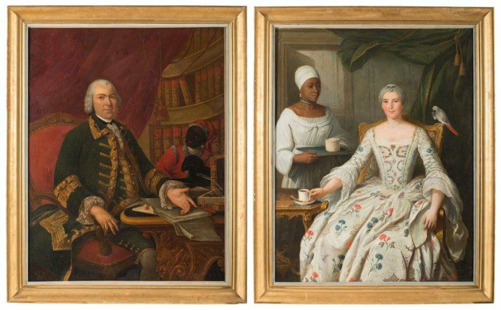 Portrait de Dominique Deurbroucq avec un esclave noir, 1753 Portrait de Marguerite Deurbroucq, née Sengstack, avec une esclave noire, 1753 Pierre-Bernard Morlot (1760-1780) © Château des ducs de Bretagne - musée d'histoire de Nantes, André Bocquel.